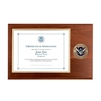 certificate plaque w/ medallion DHS