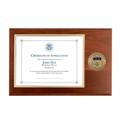 certificate plaque w/ medallion ICE