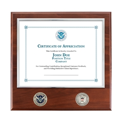 Certificate Plaque w/ 2 Coins (DHS)