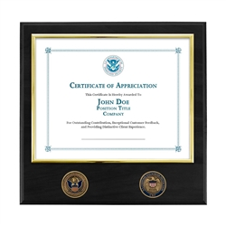 Certificate Plaque w/ 2 Coins - Brass / Black (CBP)