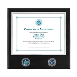 Certificate Plaque w/ 2 Coins - Nickel / Black (CISA)