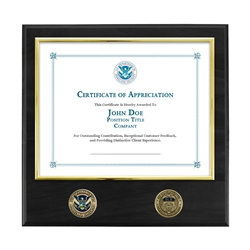 Certificate Plaque w/ 2 Coins - Brass / Black (ICE)