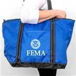 FEMA Blue Nylon Zippered Tote