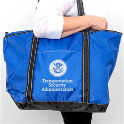 TSA Blue Nylon Zippered Tote