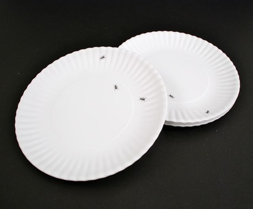 MELAMINE \ PAPER\  PLATES WITH ANTS SET OF 4 & PAPER\