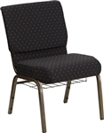 "18.5"" Black Fabric Chapel Chair"