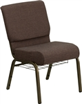 "<span style=""font-size: 11pt; color: rgb(0, 0, 128);"">Brown  21"" Church Chair w Rack </span>"
