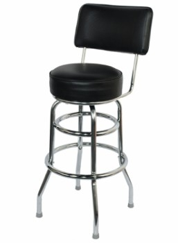Fine Double Ring Chrome Barstool With Back Beatyapartments Chair Design Images Beatyapartmentscom