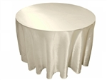 "Ivory 90"" Satin Round Tablecloth"