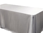 "Silver 60 x 126"" Satin Tablecloth"