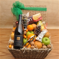 Bountiful Harvest Fruit & Wine Basket