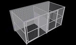 2-Run Indoor/Outdoor Dog Kennels with Fight Guards 6'W x 6'L x 6'H