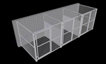 3-Run Indoor/Outdoor Dog Kennels with Fight Guards 6'W x 6'L x 6'H