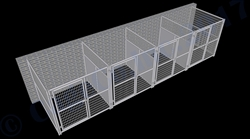 4-Run Indoor/Outdoor Dog Kennels with Fight Guards 6'W x 6'L x 6'H