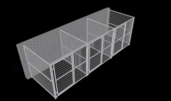 3-Run Indoor/Outdoor Kennels 6'W x 6'L x 6'H