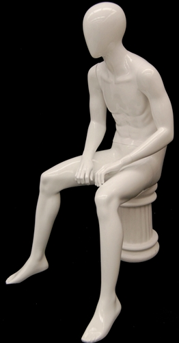 Male Mannequin in Seated Pose in Matte White from www.zingdisplay.com