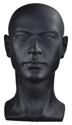 Abstract Male Mannequin Head Display - Matte Black