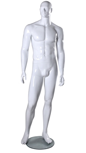 Athletic Male Mannequin in Glossy or Matte White from www.zingdisplay.com
