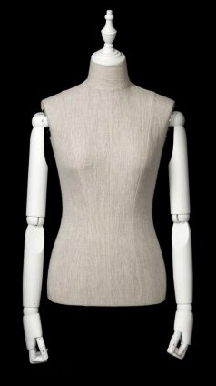 Mixed Fabric White Linen Female Body Display Form with Posable Wood Arms