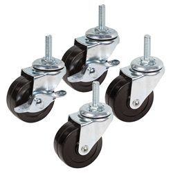 "2"" Industrial Chrome Rubber Casters - Set of 4"