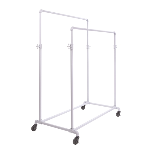 Adjustable Double Bar Ballet Rack in Glossy White - Pipe Collection from www.zingdisplay.com