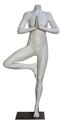 High End Athletic Headless Female Mannequin Yoga Tree Pose - 6 Colors