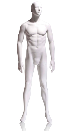 Tomas Male Mannequin Abstract Head with features - Arm by side Pose 1