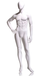Tomas Male Mannequin Choose Headless, Abstract or Oval Head with features - Right hand on Hip Pose 4