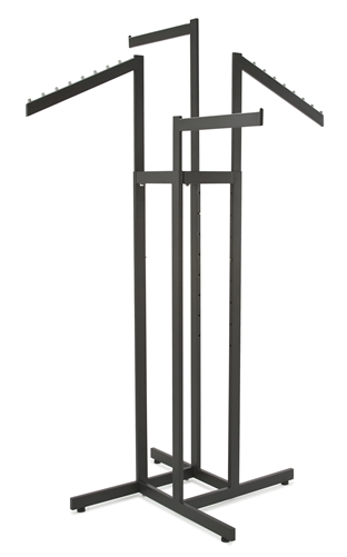 4-Way Garment Display with 2 Straight Arms and 2 Slanted Arms