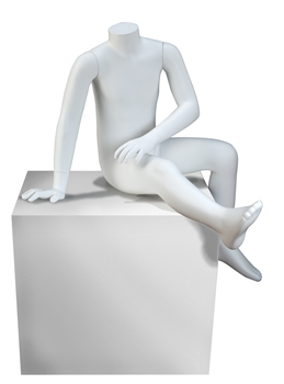 Seated Headless Child Mannequin in White from www.zingdisplay.com