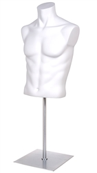 Male Torso Form with Base - Matte White