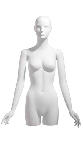 Realistic White Female 3/4 Torso - Display Form - Hands at Sides