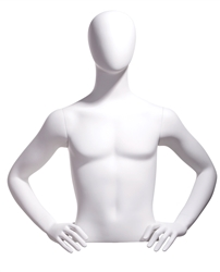 Egghead White Male Upper Torso - Display Form - Hands on Hips from www.zingdisplay.com