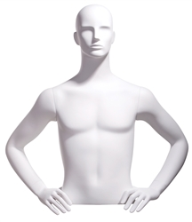 Realistic White Male Upper Torso - Display Form - Hands on Hips from www.zingdisplay.com