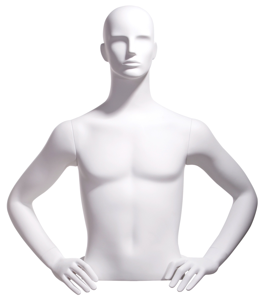 Realistic White Male Upper Torso Display Form Hands On Hips