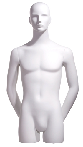 Realistic White Male 3/4 Display Form - Hands Behind Back from www.zingdisplay.com