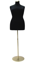 Black Female Dress Form Size 14/16 - Metal Base Included
