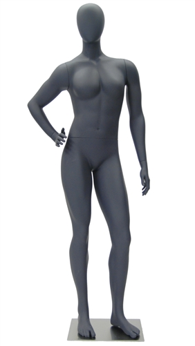 Athletic Gray Egghead Female Mannequin - Hand on Hip