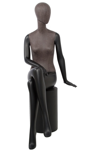 Leatherette Mixed Fabric Seated Mannequin