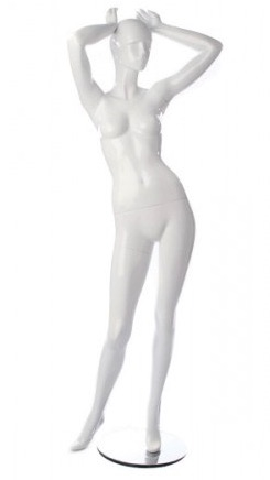 Glossy White Retro Abstract Female Mannequin - Arms Up