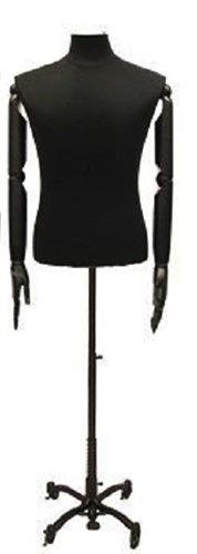 Black Removable Head Male Dress Form with Flexible Arms and Hands