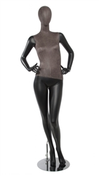 Matte Black Mixed Fabric Female Mannequin Distressed Leatherette with Removable Head