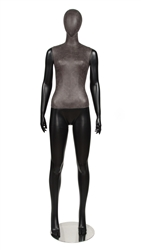 Black Leatherette Mixed Fabric Female Mannequin