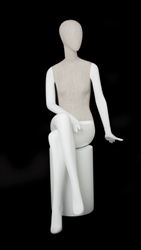 Linen Mixed Fabric Seated Female Mannequin