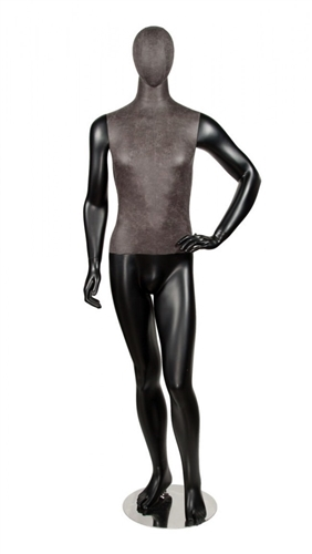 Black Leatherette Mixed Fabric Male Mannequin