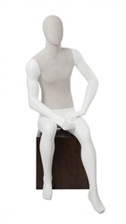 Linen Mixed Fabric Male Seated Mannequin