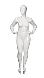 Glossy White Plus Size Abstract Female Mannequin