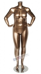 Metallic Gold Plus Size Headless Female Mannequin