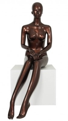 Metallic Bronze Retro Abstract Seated Female Mannequin - Hands in Lap