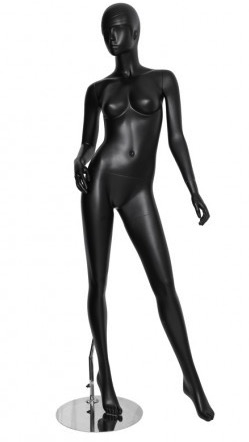 Matte Black Retro Abstract Female Mannequin - Left leg out
